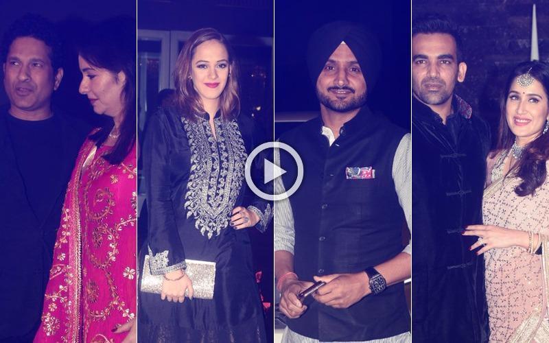 Sachin Tendulkar, Hazel Keech, Harbhajan Singh  At Sagarika Ghatge & Zaheer Khan's Cocktail Party