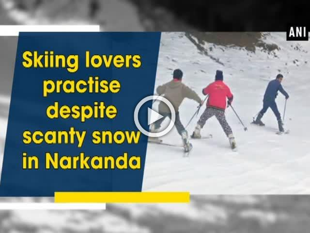 Skiing lovers practise despite scanty snow in Narkanda