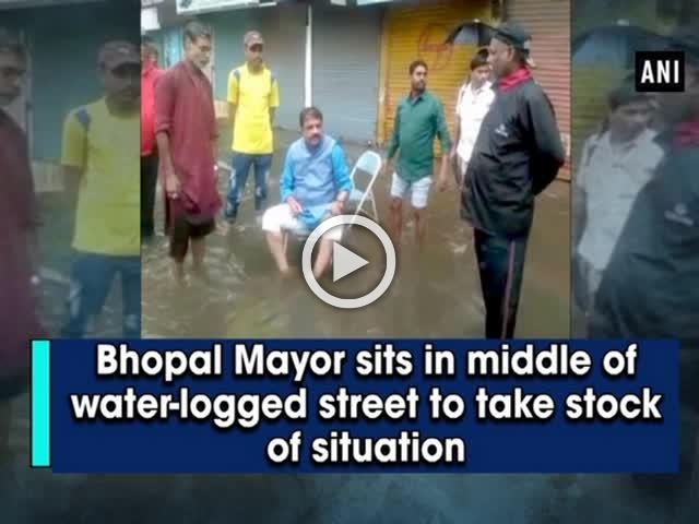 Bhopal Mayor sits in middle of water-logged street to take stock of situation