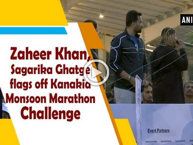 Zaheer Khan, Sagarika Ghatge flags off Kanakia Monsoon Marathon Challenge