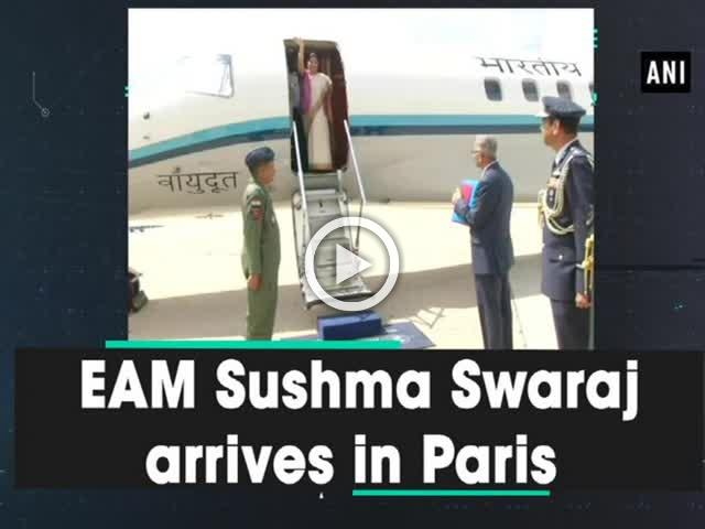 EAM Sushma Swaraj arrives in Paris