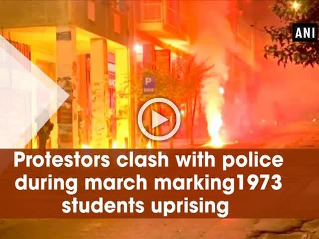 Protestors clash with police during march marking 1973 students uprising