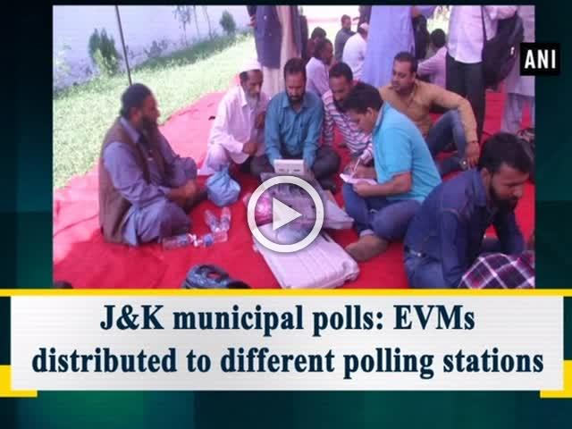 J&K municipal polls: EVMs distributed to different polling stations