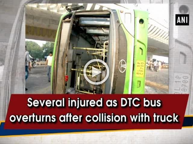 Several injured as DTC bus overturns after collision with truck