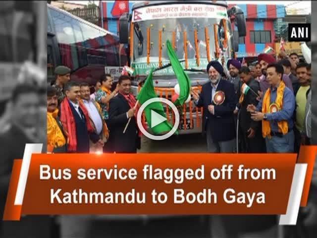 Bus service flagged off from Kathmandu to Bodh Gaya