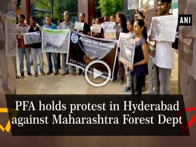 PFA holds protest in Hyderabad against Maharashtra Forest Dept