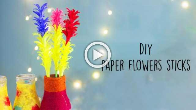 DIY Paper Flowers Sticks