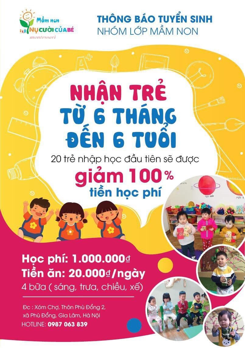 ưu đãi tuyển sinh của Trường mầm non Nụ Cười của Bé Montessori - Phù Đổng