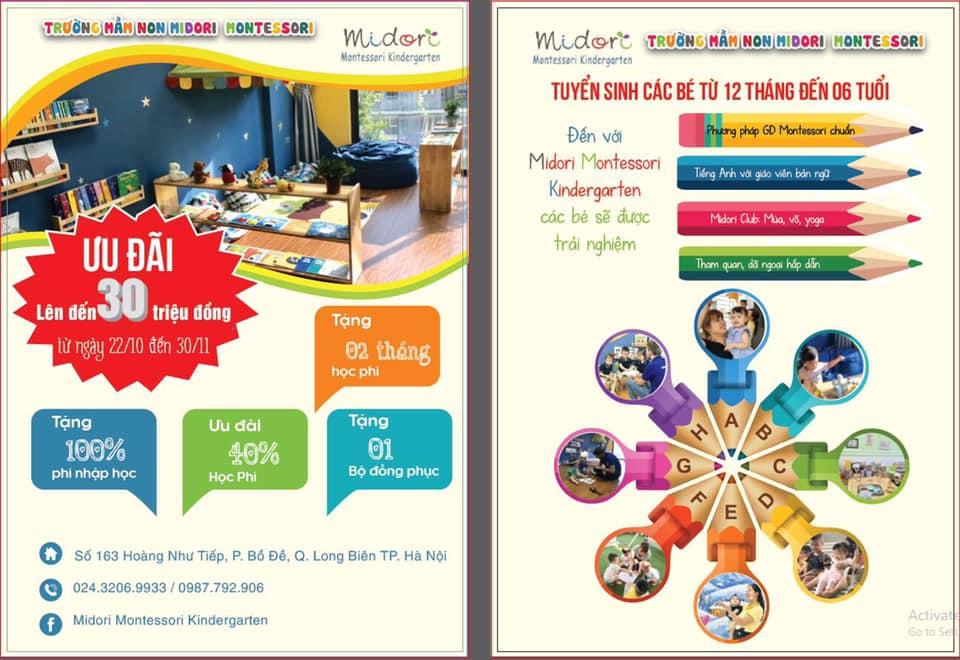 ưu đãi tuyển sinh của Trường mầm non Midori Montessori Kindergarten - Ô Chợ Dừa