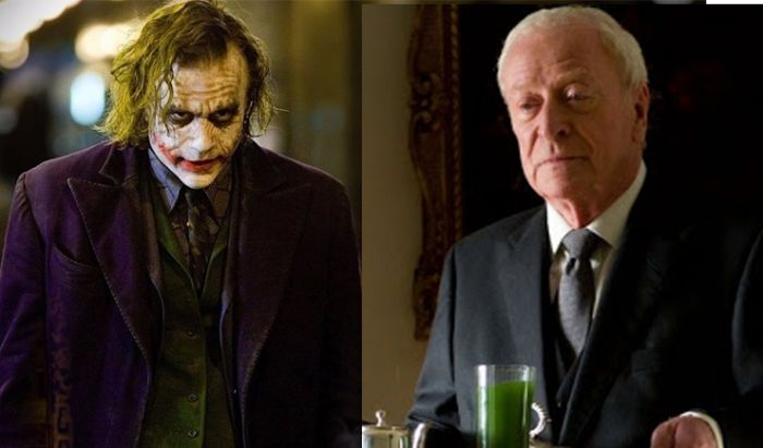 Heath Ledger (Joker) dan Michael Caine (Alfred)