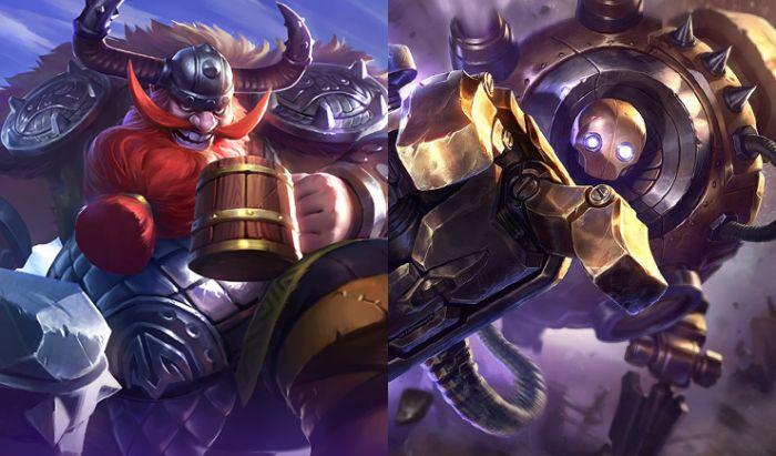 Franco dari Mobile Legends (kiri) dan Blitzcrank dari League of Legends (kanan).