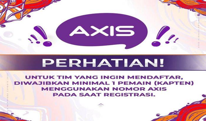 Kapten Tim wajib menggunakan nomer AXIS saat melakukan registrasi