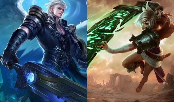 Alucard dari Mobile Legends (kiri) dan Riven dari League of Legends (kanan).