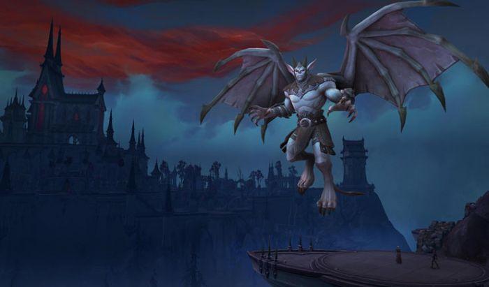 Sosok Venthyr tengah terbang di dekat salah satu kastil Revendreth.