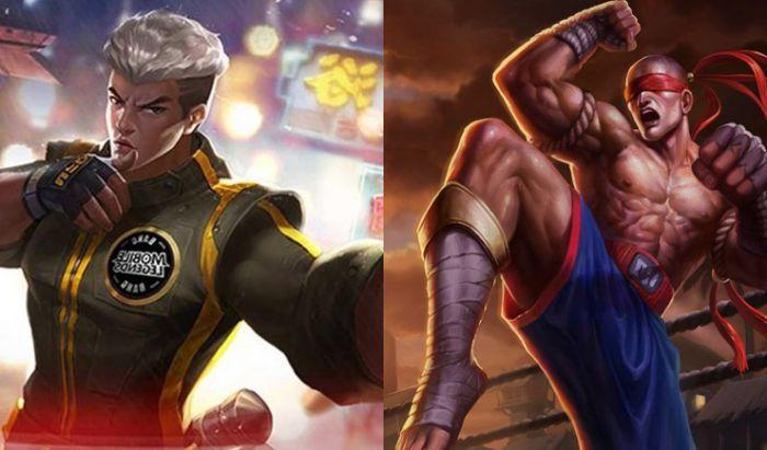 Chou dari Mobile Legends (kiri) dan Lee Sin dari League of Legends (kanan).