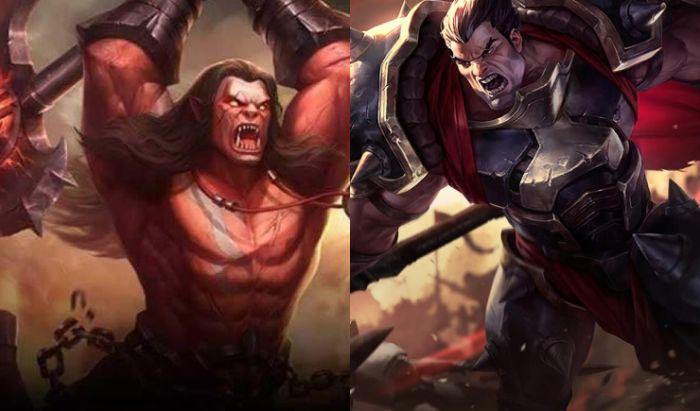 Balmond dari Mobile Legends (kiri) dan Darius dari League of Legends (kanan).