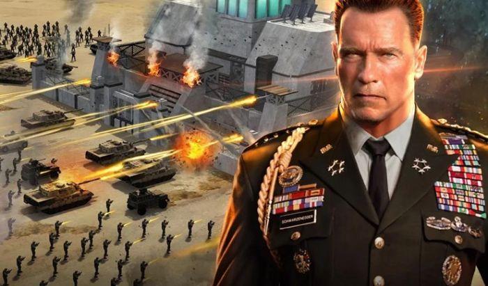 Iklan dari game Mobile Strike dengan wajah karakter yang mirip Arnold Schwarzeneger.