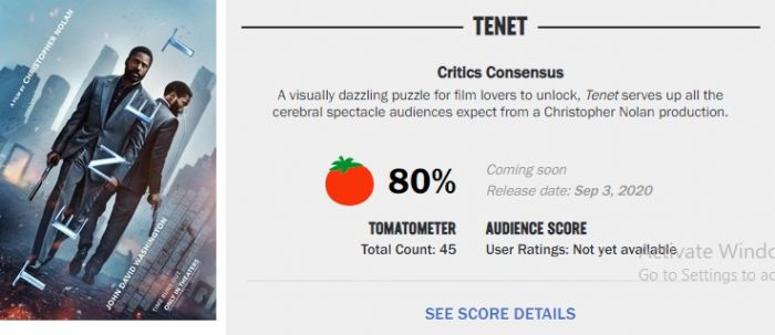 Rotten Tomatoes Telah Kasih Nilai untuk Tenet