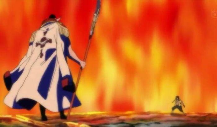 Duel habis-habisan Ace dan Shirohige di anime.