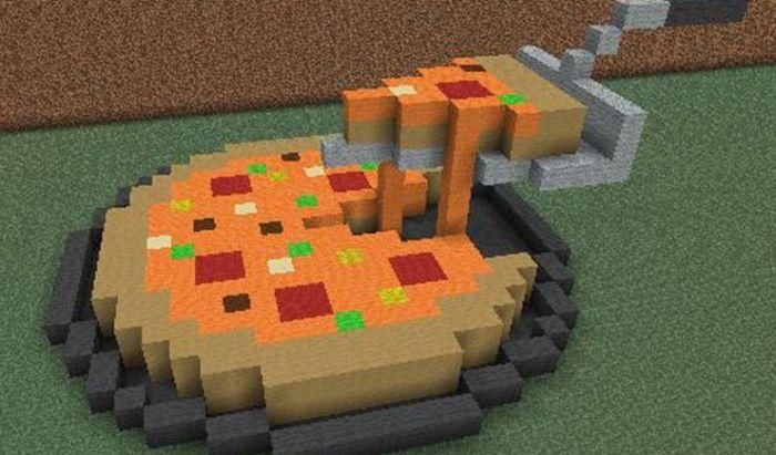Ilustrasi pizza di game Minecraft.