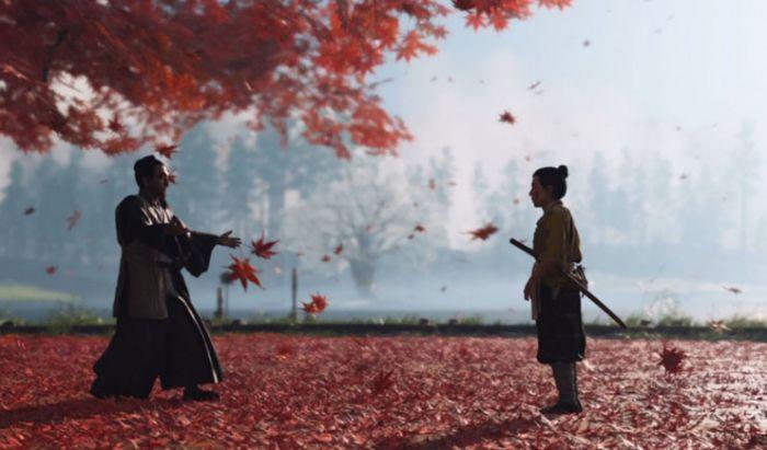 Jin Sakai saat belajar duel dari pamannya, Shimura.
