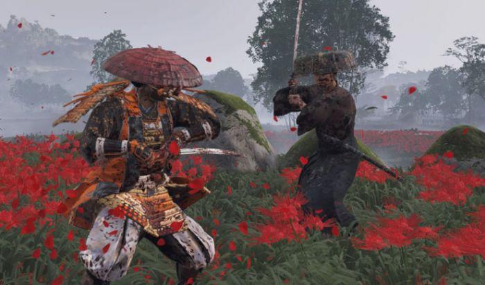 Duel pedang di Ghost of Tsushima yang terasa seperti boss fight.