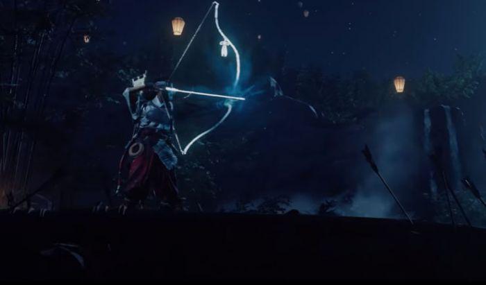 Hunter di Ghost of Tsushima: Legends dengan senjata panahnya.