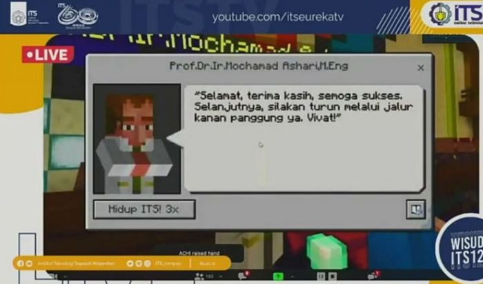 Interface dari server Minecraft ITS dengan dialog pidato wisuda.