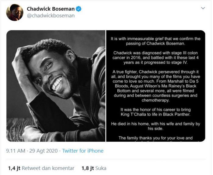 Chadwick Boseman, Aktor Black Panther Meninggal Dunia.