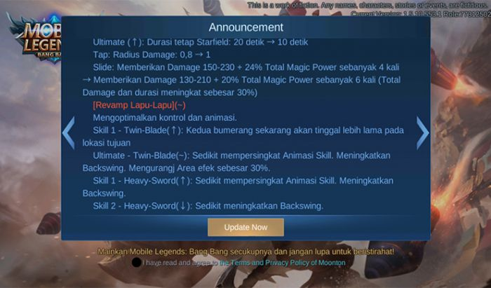 Update terbaru Mobile Legends.