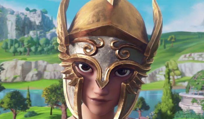 Tampilan Fenyx dengan helm di Gods and Monsters.