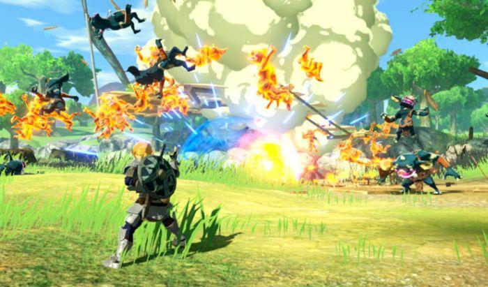 Tampilan gameplay dari Hyrule Warriors: Age of Calamity.