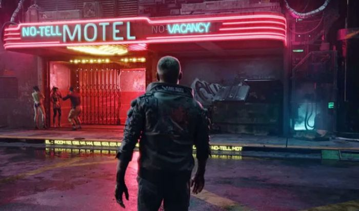 Penampakan sudutkota Night City di game Cyberpunk 2077.