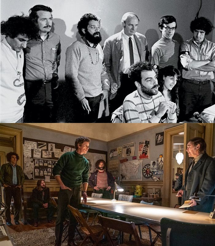 Anggota Chicago Seven asli dan dalam film The Trial of the Chicago 7.
