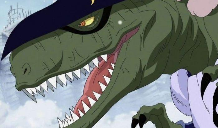 X-Drake ketika berubah menjadi Tyrannosaurus Rex.