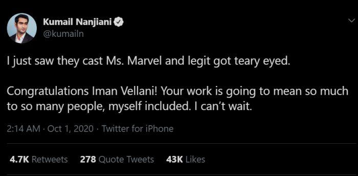Pemeran Ms. Marvel Iman Vellani