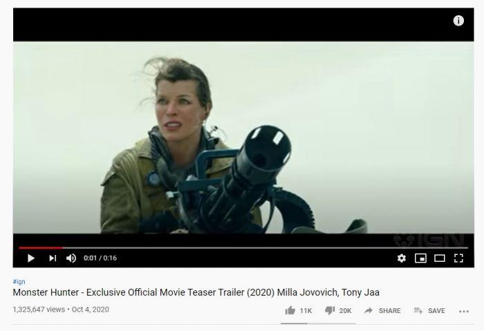 Video Teaser Film Monster Hunter Dibanjiri Dislike