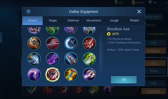 Item damage Mobile Legends.