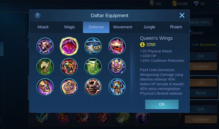 Item defense Mobile Legends.