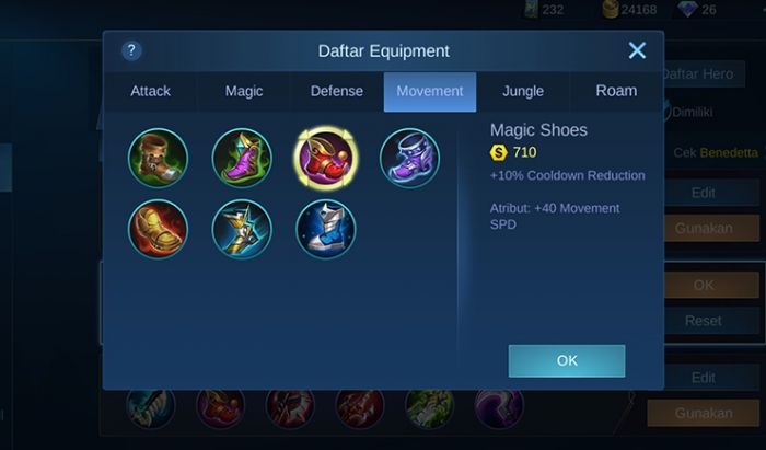item Magic Shoes Mobile Legends.