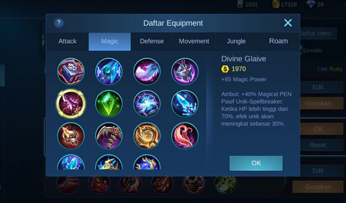 Kiat build item Mobile Legends.