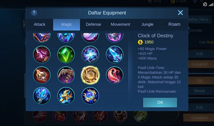 Item untuk Support Mobile Legends.