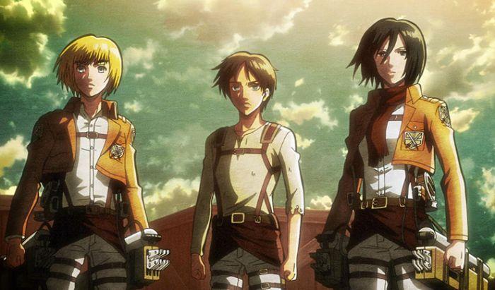 Trio protagonis Attack on Titan.