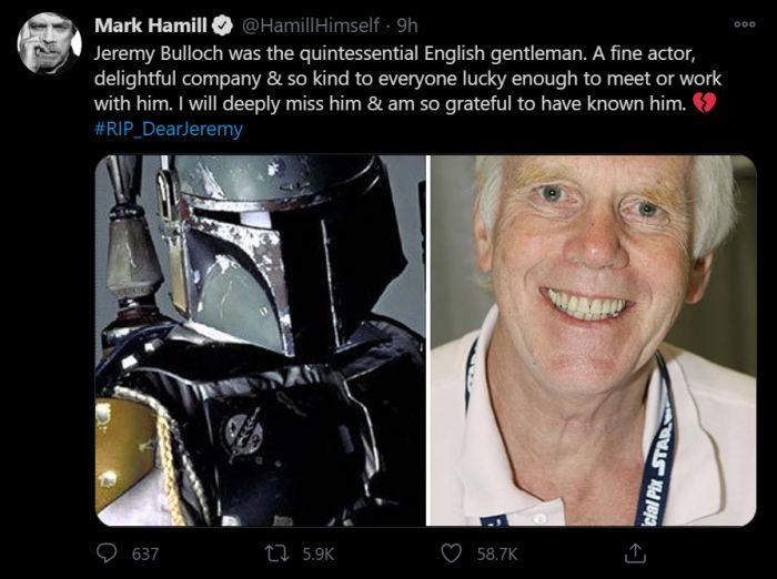 Jeremy Bulloch, Pemeran Boba Fett di Film Star Wars Meninggal Dunia