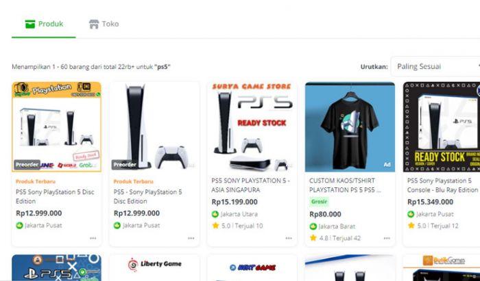 Harga PS5 di salah satu retail online.