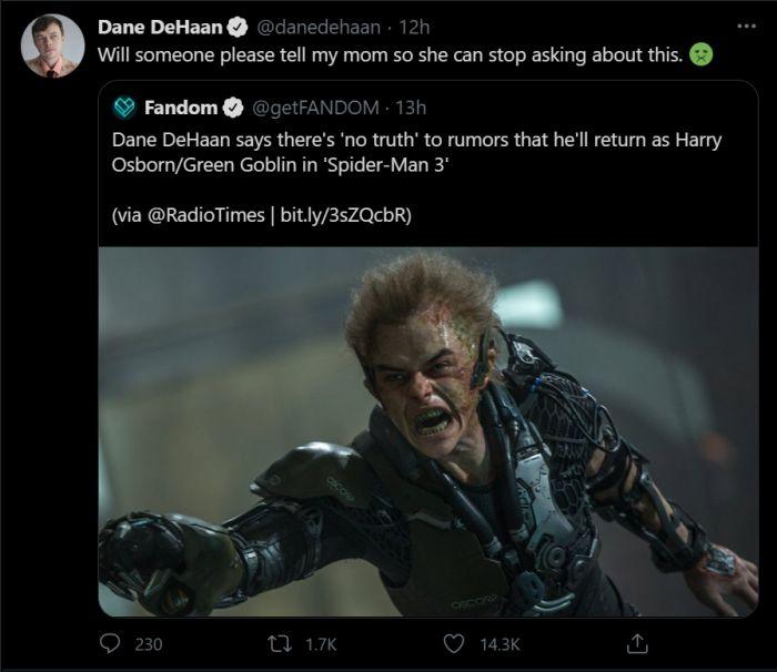 Aktor Green Goblin Bantah Akan Muncul di Film Spider-Man 3