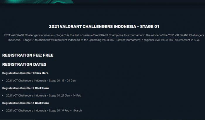 Tanggal registrasi Valorant Challenger Indonesia.