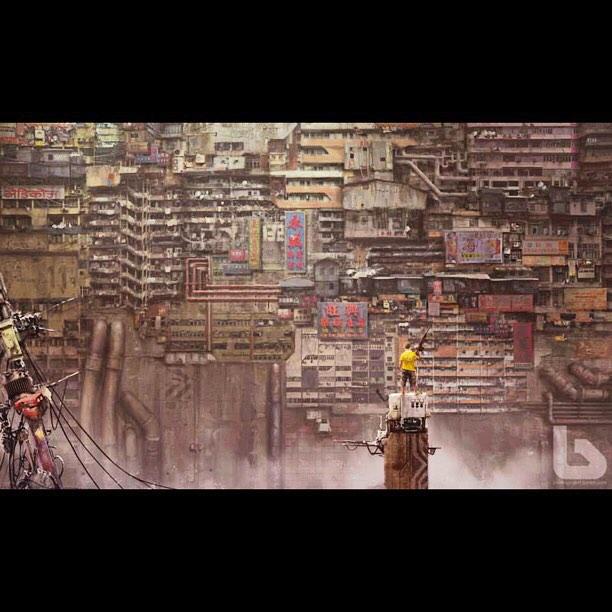A stunning sci fi image of Mong Kok Hong Kong created by the amazing artist Nivanh Chanthara BABIRU, channeling Blade Runner!