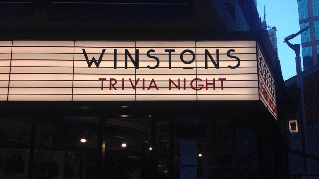 Winstons Hong Kong Pub Quiz Sign