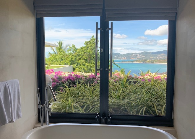 View from bathtub in bedroom